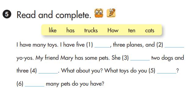 hoàn thành câu tiếng Anh lớp 3 unit 17