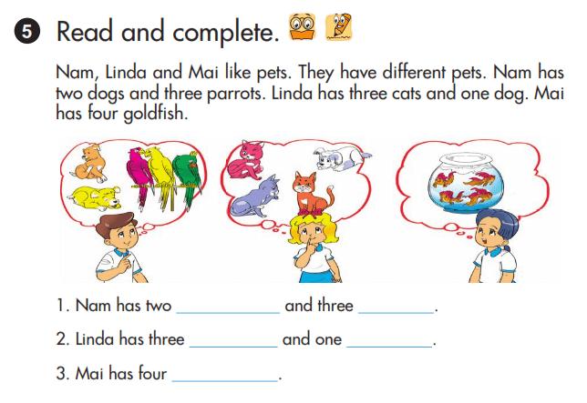 sách tiếng Anh lớp 3 unit 17 hoàn thành câu