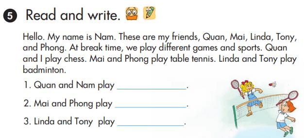 tiếng Anh lớp 3 unit 10 bài đọc