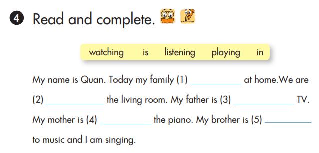 tiếng Anh lớp 3 unit 18 đọc và hoàn thành câu