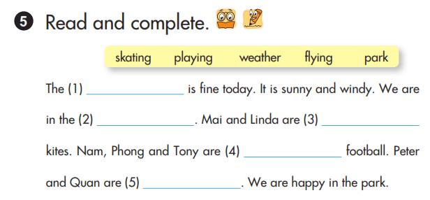 bài tập hoàn thành câu tiếng Anh lớp 3 unit 19 lời giải