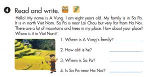 phần viết lesson 4 sách tiếng Anh lớp 3 unit 20