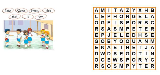 bảng câu đố tiếng Anh lớp 3 unit 3