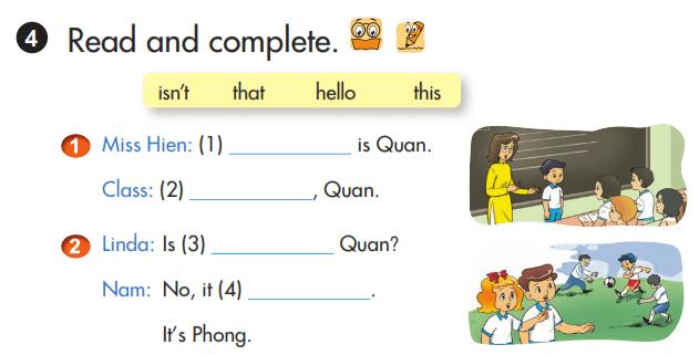 hoàn thành câu tiếng Anh lớp 3 unit 3