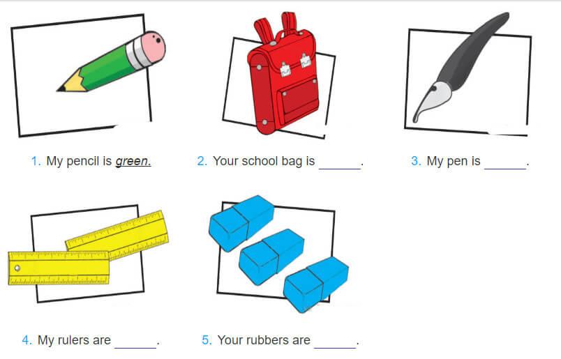 giải bài tâp tiếng Anh lớp 3 unit 9