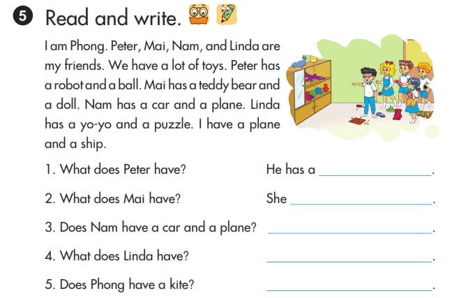 sách tiếng Anh lớp 3 unti 15 bài viết