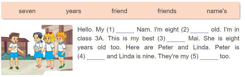 bài đọc và hoàn thành câu tiếng Anh lớp 3 tập 1 unit 5