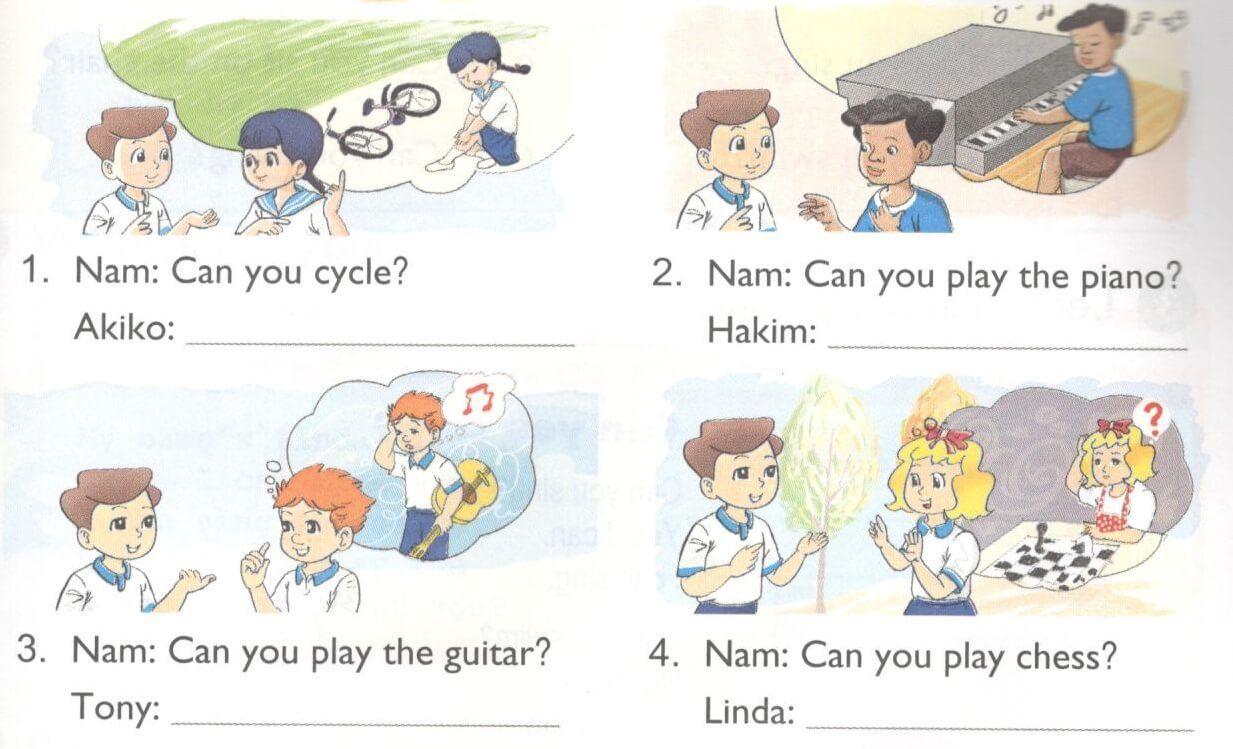 bài viết tiếng Anh lớp 4 unit 5 - lời giải