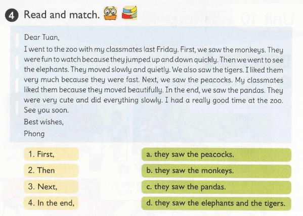 Đọc và nối - đáp án tiếng Anh lớp 5 unit 9