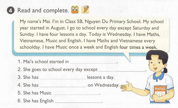 tiếng Anh lớp 5 unit 6 mới nhất